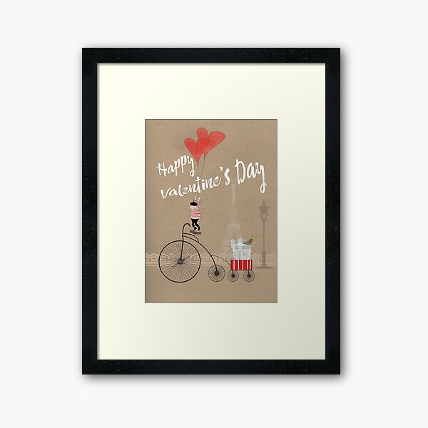 Happy Valentines in Paris Gerahmter Kunstdruck