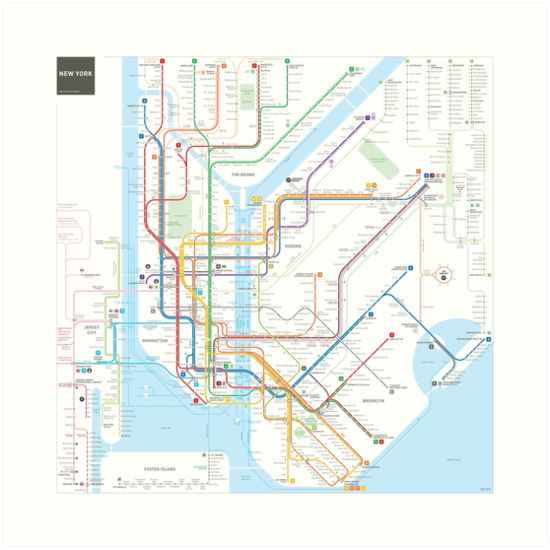 New York City Subway Map Art Prints By Jug Cerovic Redbubble