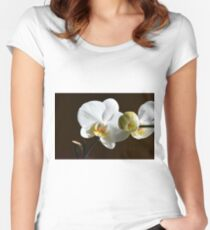 White orchid (Phalaenopsis) Women's Fitted Scoop T-Shirt