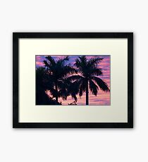 Palm Trees and Sunset Framed Print