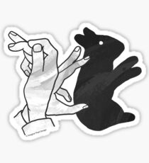 Hand Silhouette Rabbit Sticker