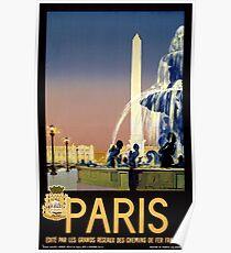 Paris Vintage Travel Poster Restored Poster