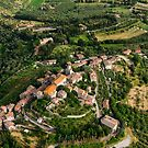 The hilltop town of Agello from the air, Agello, Umbria, Italy by Andrew Jones