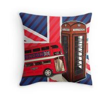 union jack london bus vintage red telephone booth Throw Pillow