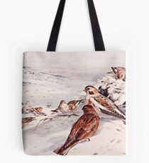 Winter Scene with Snow Buntings Tote Bag