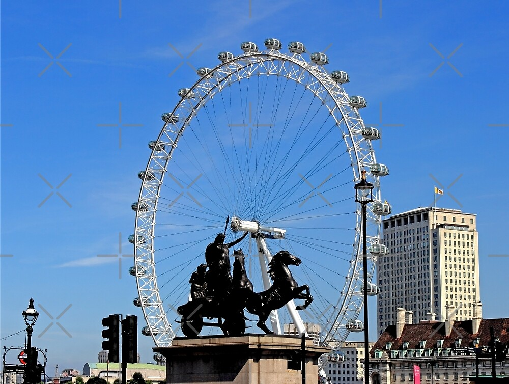 Boadicea supporting the eye in London by Avril Harris