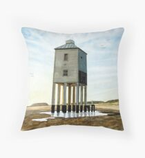 """""""As the Sun Goes Down"""" - Low Lighthouse, Burnham-on-Sea, Somerset Throw Pillow"""