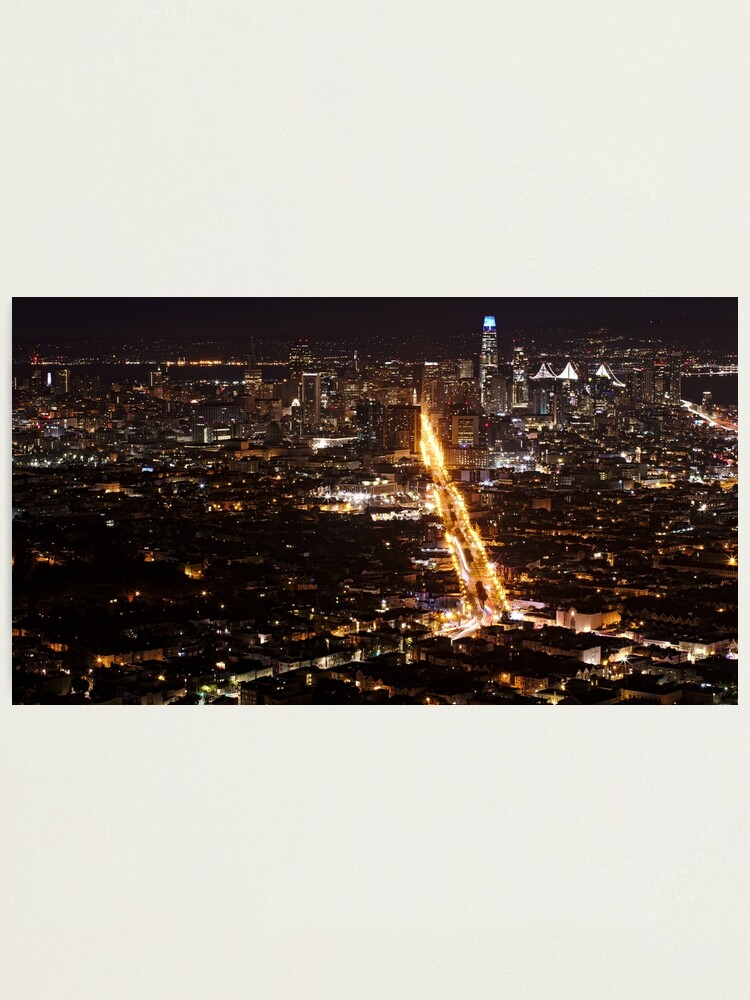 Alternate view of Downtown San Francisco at Night Photographic Print