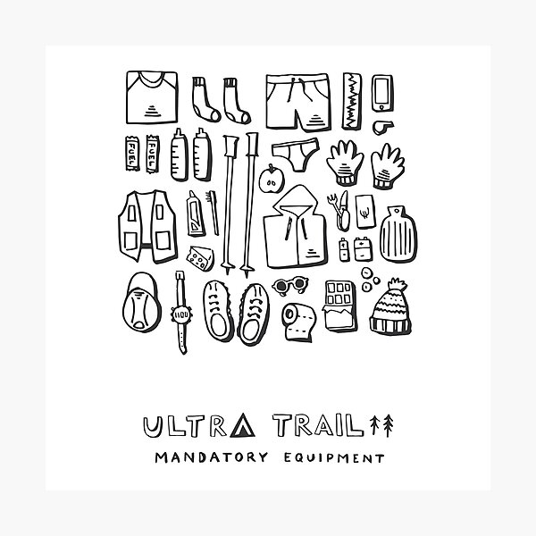 Ultra Trail - Mandatory Equipment - White Photographic Print
