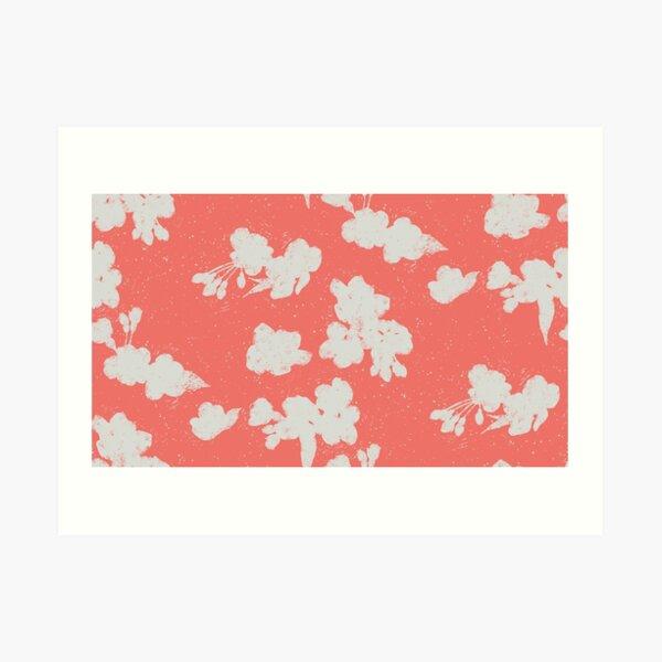 Cherry Blossom Silhouette - Coral Kunstdruck