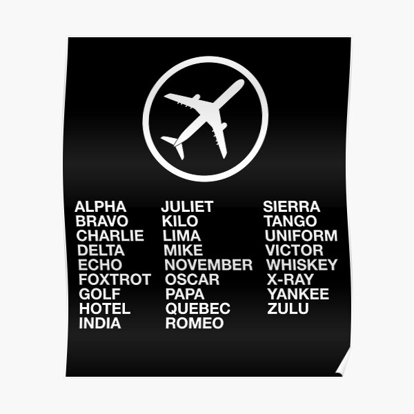 The Phonetic Alphabet with a picture of an airplane. Poster