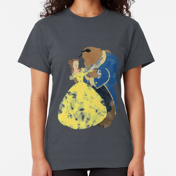 Watercolour Grunge of Beauty and The Beast (with transparency) Classic T-Shirt