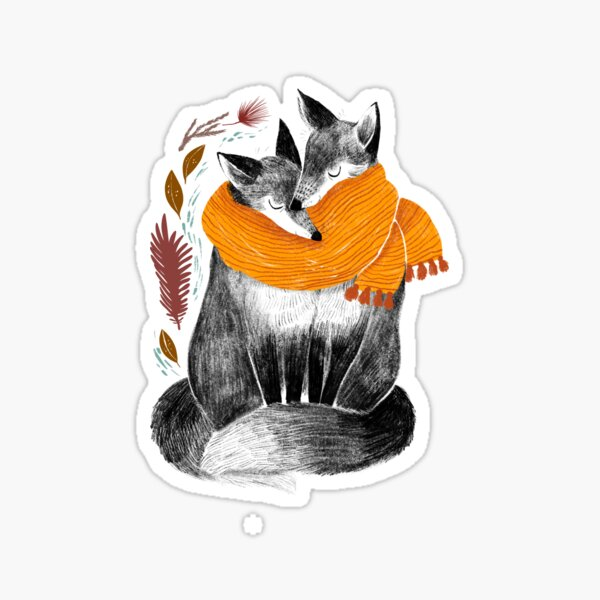 Snuggling Foxes Sticker