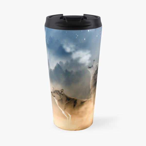 Wolves Howling in the Moonlight Travel Mug