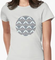 Deco Doodle in Aqua, Cream & Navy Blue Womens Fitted T-Shirt