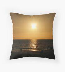 Sihouette beach scene Throw Pillow