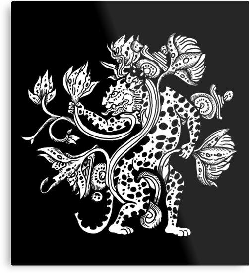 "Mayan Jaguar: ""Mayan Jaguar With Lotus"" Metal Prints By ZugArt"