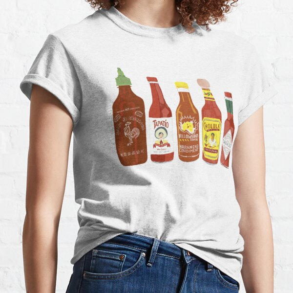 Spicy! Check out these hot sauces on white background Classic T-Shirt