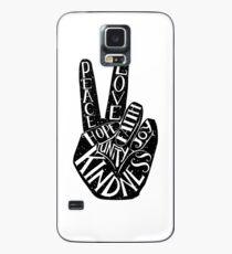 Friedenszeichen mit Wörtern Frieden, Liebe, Glaube, Freude, Hoffnung, Freundlichkeit, Einheit Hülle & Klebefolie für Samsung Galaxy