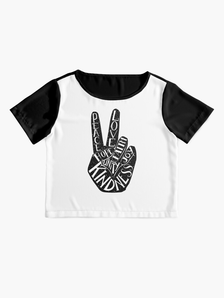 Alternate view of Peace Sign with words Peace, Love, Faith, Joy, Hope, Kindness, Unity Chiffon Top
