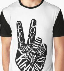 Peace Sign with words Peace, Love, Faith, Joy, Hope, Kindness, Unity Graphic T-Shirt