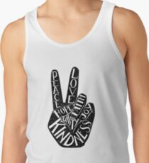 Camisetas de tirantes para hombre Signo de la paz con palabras Paz, amor, fe, alegría, esperanza, amabilidad, unidad
