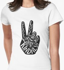Peace Sign with words Peace, Love, Faith, Joy, Hope, Kindness, Unity Fitted T-Shirt
