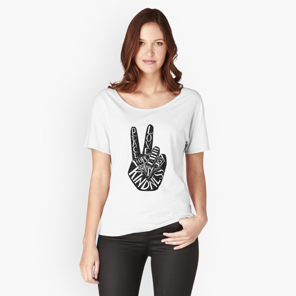 Peace Sign with words Peace, Love, Faith, Joy, Hope, Kindness, Unity Relaxed Fit T-Shirt