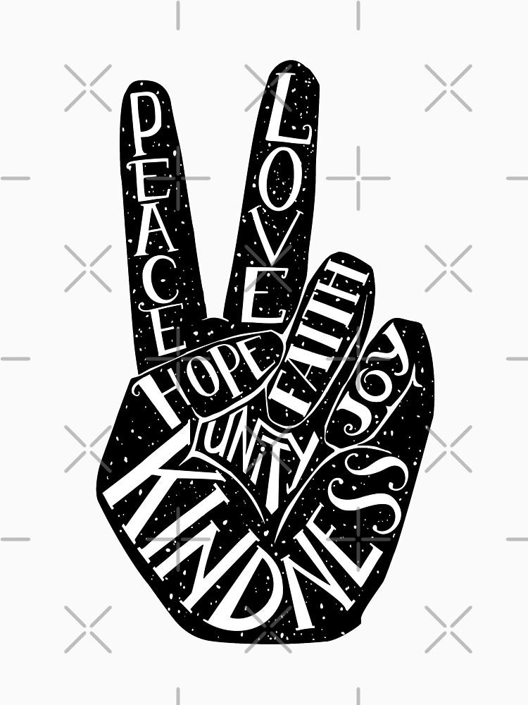 Friedenszeichen mit Wörtern Frieden, Liebe, Glaube, Freude, Hoffnung, Freundlichkeit, Einheit von picbykate