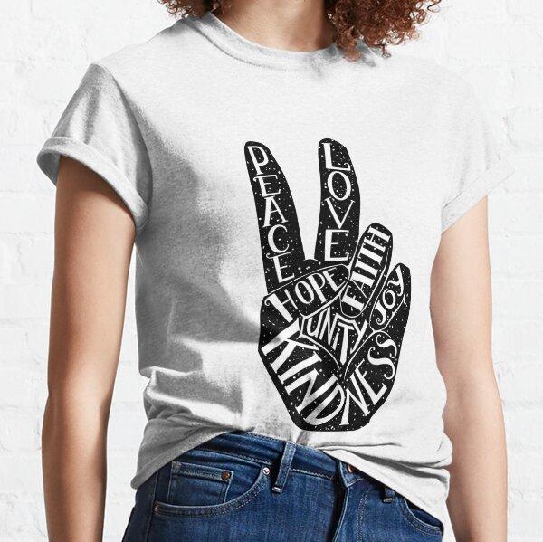 Peace Sign with words Peace, Love, Faith, Joy, Hope, Kindness, Unity Classic T-Shirt