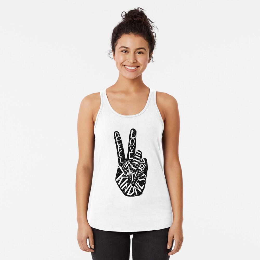 Friedenszeichen mit Wörtern Frieden, Liebe, Glaube, Freude, Hoffnung, Freundlichkeit, Einheit Racerback Tank Top