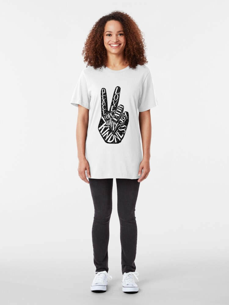 Alternate view of Peace Sign with words Peace, Love, Faith, Joy, Hope, Kindness, Unity Slim Fit T-Shirt