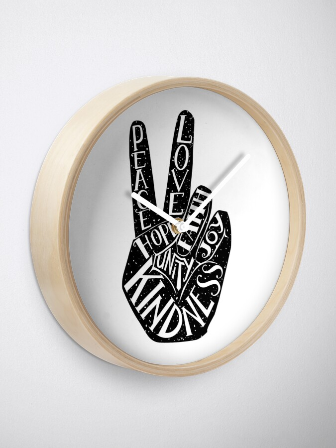 Alternate view of Peace Sign with words Peace, Love, Faith, Joy, Hope, Kindness, Unity Clock