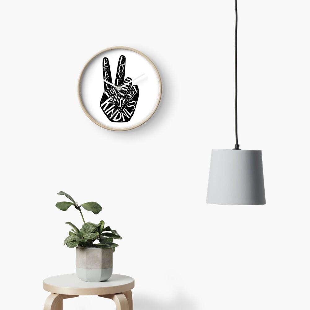 Peace Sign with words Peace, Love, Faith, Joy, Hope, Kindness, Unity Clock