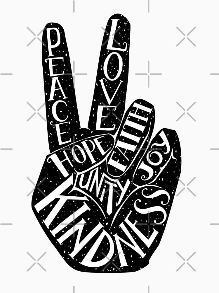 Peace Sign with words Peace, Love, Faith, Joy, Hope, Kindness, Unity by picbykate