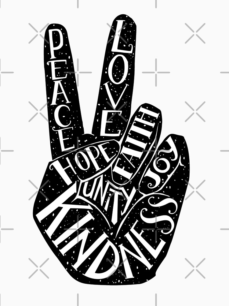 Peace Sign with words Peace, Love, Faith, Joy, Hope, Kindness, Unity by picbykate