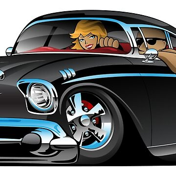Classic hot rod fifties muscle car with cool couple cartoon by hobrath