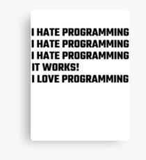 I Love Programming Canvas Print