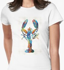 Colorful Lobster Art by Sharon Cummings Women's Fitted T-Shirt