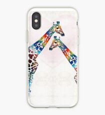 Colorful Giraffe Art - I've Got Your Back - By Sharon Cummings iPhone Case