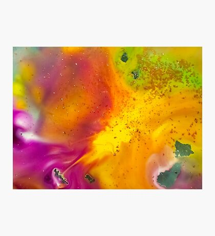 watercolor abstraction painting - orange energy Photographic Print