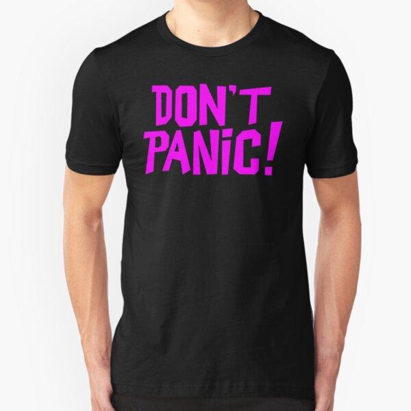 NDVH Don't Panic - Magenta 1 H2G2 Slim Fit T-Shirt