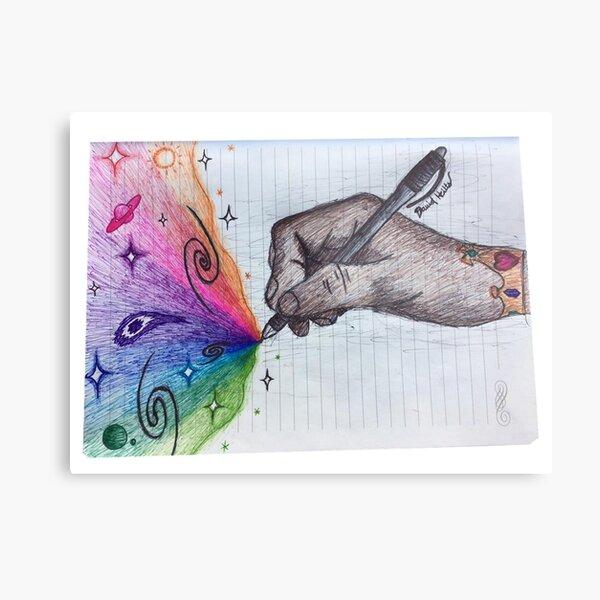 Drawing Hand Drawing Metal Print