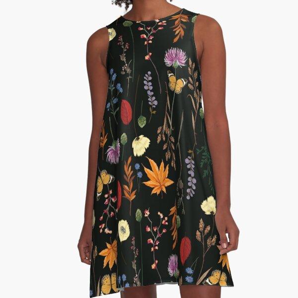Dark Summer Floral Pattern A-Line Dress