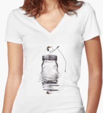 Snoopy fishing Women's Fitted V-Neck T-Shirt