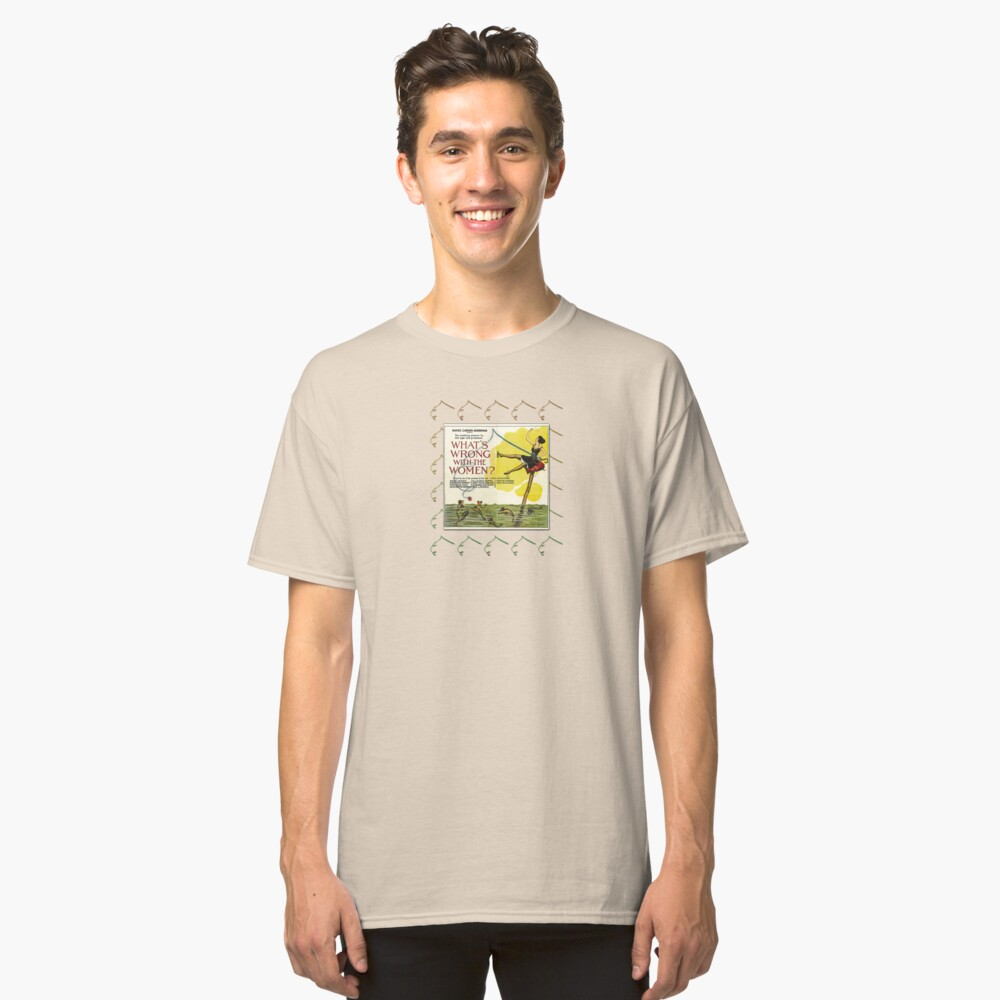 Vintage Fun Flapper Fishing Design Featuring 'What's Wrong With The Women?' Classic T-Shirt