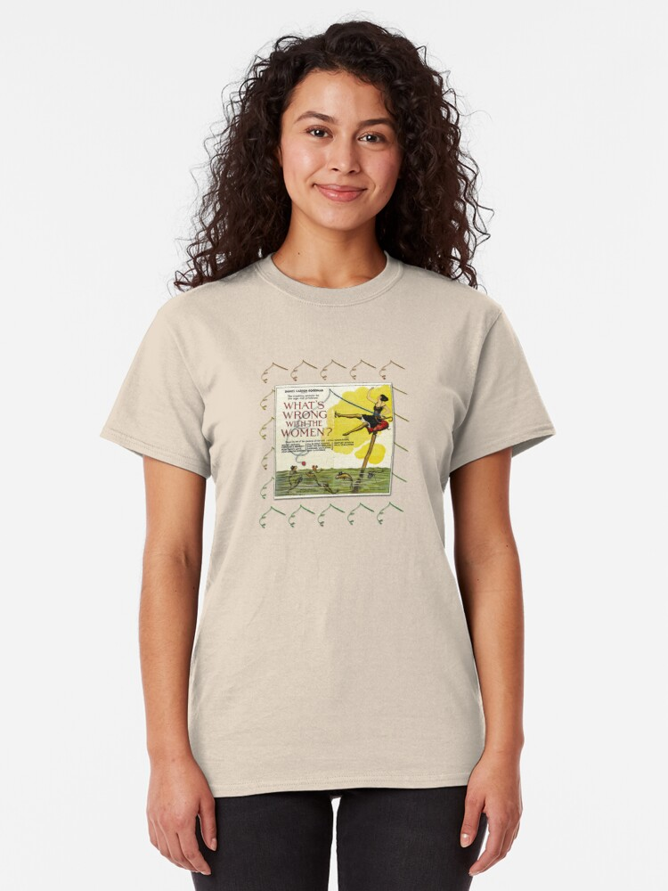 Alternate view of Vintage Fun Flapper Fishing Design Featuring 'What's Wrong With The Women?' Classic T-Shirt