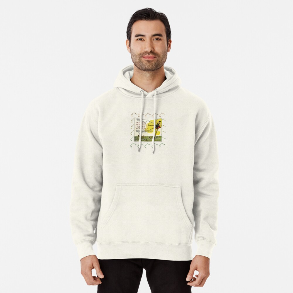 Vintage Fun Flapper Fishing Design Featuring 'What's Wrong With The Women?' Pullover Hoodie