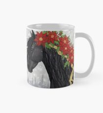Poinsettia Black Stallion Horse Mug