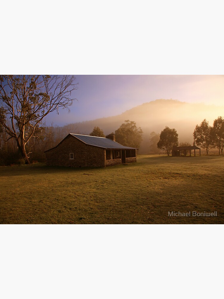 Misty dawn over GeeHe Hut, Kosciusko Nat. Park, Australia by Chockstone